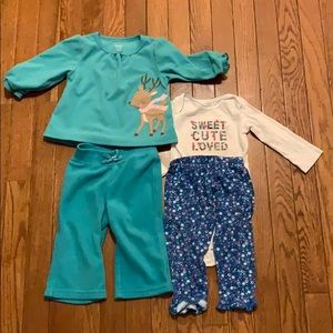 2 pair of long sleeve pajamas girls 12 months READ